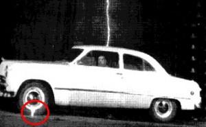 Lightning strikes car
